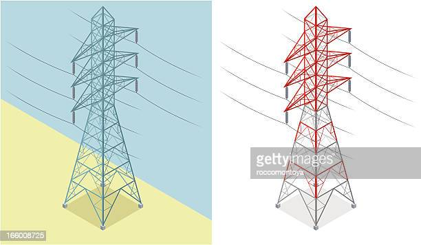 isometric, electricity pylon - steel cable stock illustrations