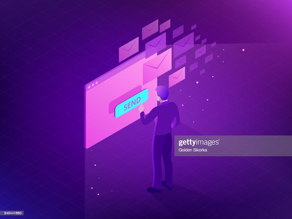 Isometric Email Inbox Electronic Communication. E-mail marketing. Receiving messages. New mail receive. Inbox message. Inbox email