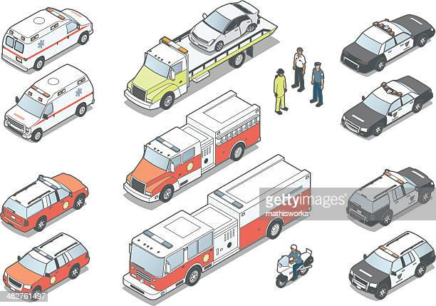 isometric emergency vehicles - three quarter length stock illustrations