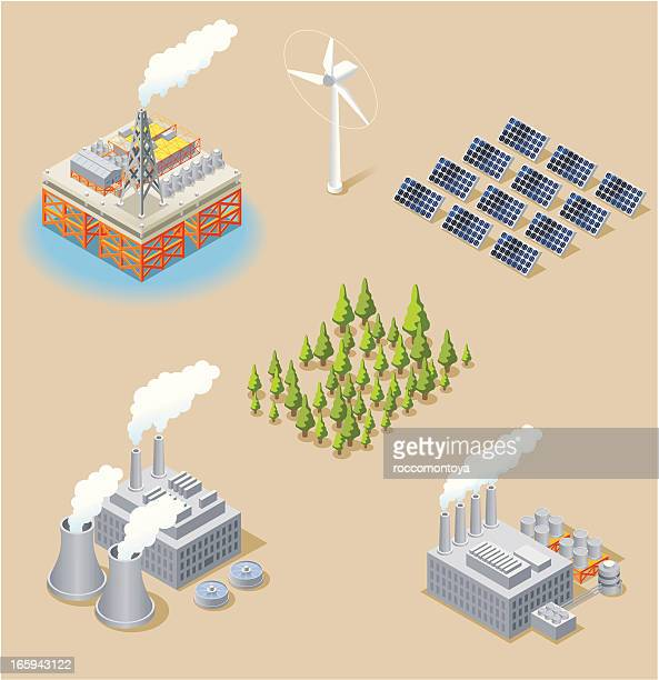 isometric, energy set - nuclear energy stock illustrations