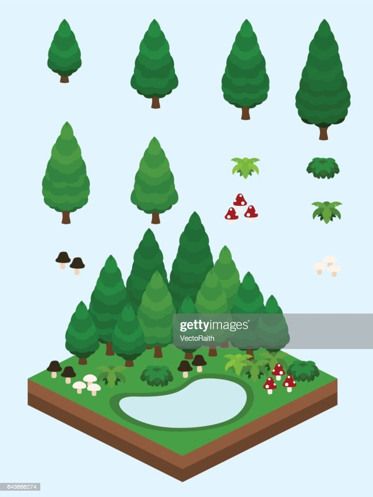 Isometric Evergreen Coniferous Forest
