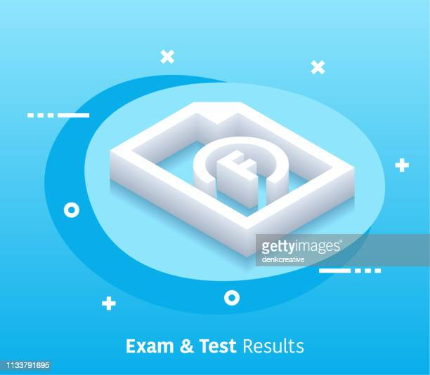 Isometric Exam & Test Results Vector Web Banner & Icon Design