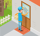 Isometric Express Courier Special Delivery Boy Man Messenger Cardboard Box Concept Knocking at Customer Door Wall Background Retro Cartoon Design Vector Illustration