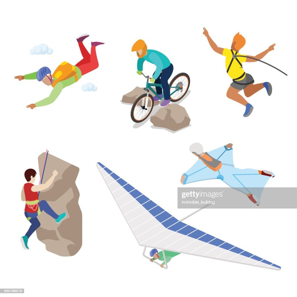 Isometric Extreme Sports People with Bungee