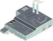 Isometric Factory Processimg Plant