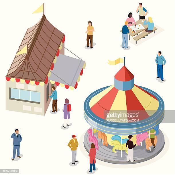 ilustraciones, imágenes clip art, dibujos animados e iconos de stock de isométricos de la feria - puesto de mercado