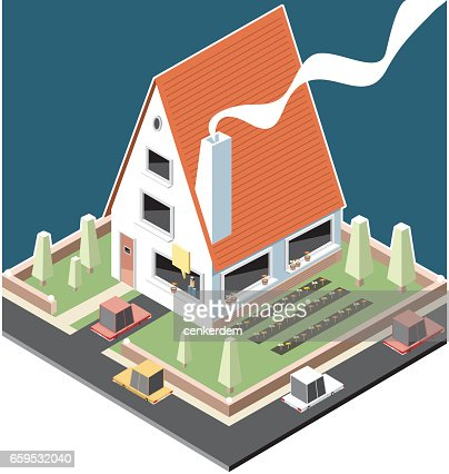 Isometric family house