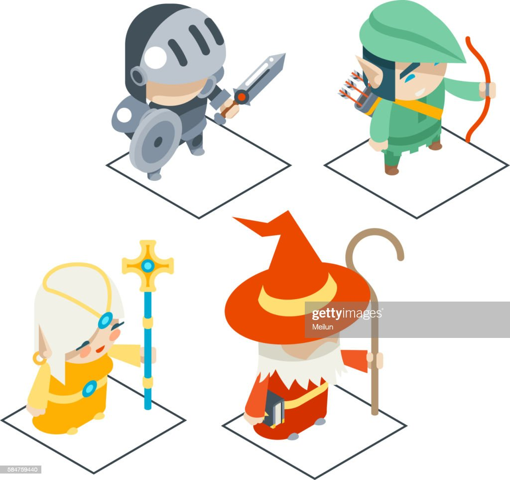 Isometric Fantasy RPG Game Character Vector Icons Set  Illustration