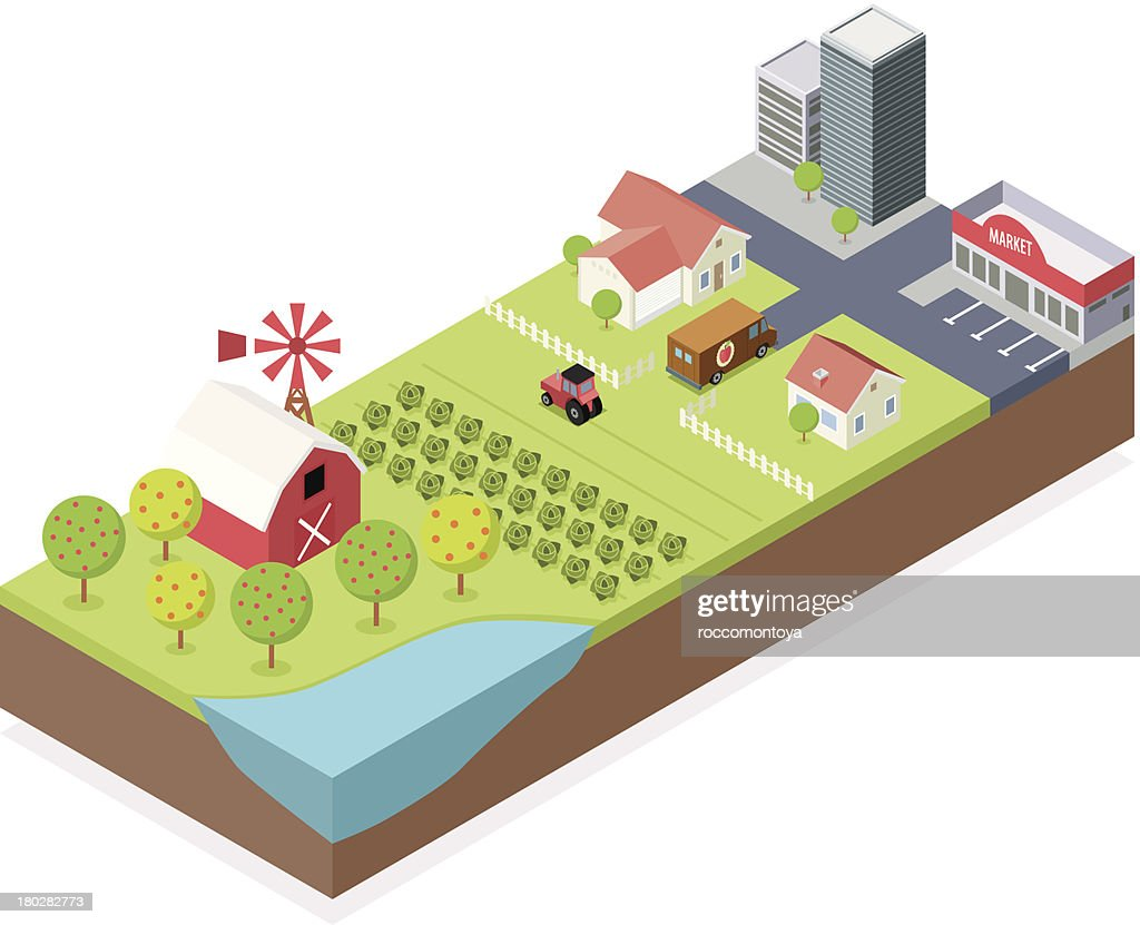 Isometric, Farm and City : stock illustration