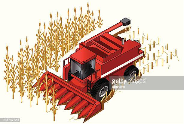 isometric farm combine - corn crop stock illustrations, clip art, cartoons, & icons
