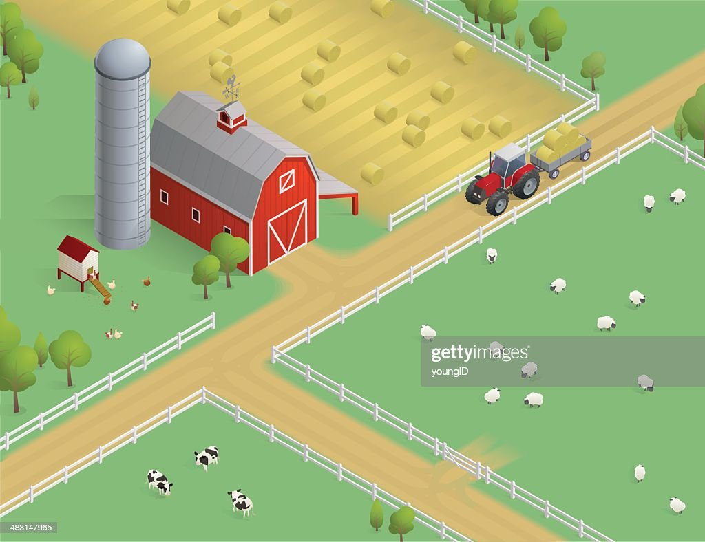 Isometric Farm Scene : stock illustration