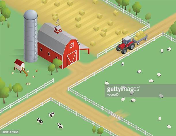 isometric farm scene - tractor stock illustrations
