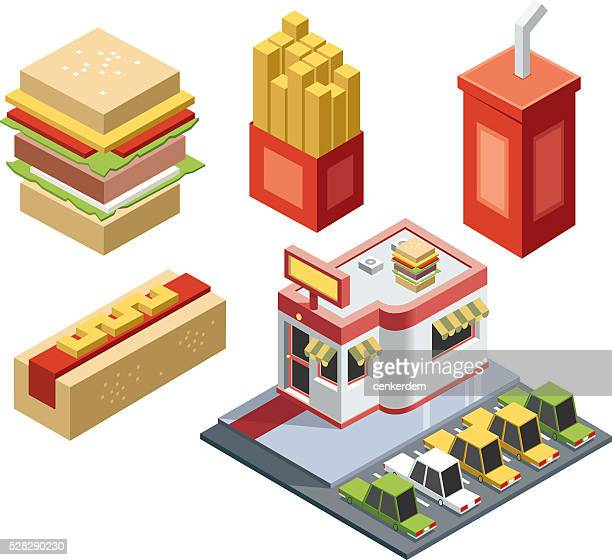 isometric fast food stuff - sweet bun stock illustrations, clip art, cartoons, & icons