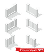 Isometric fence and gate constructor.