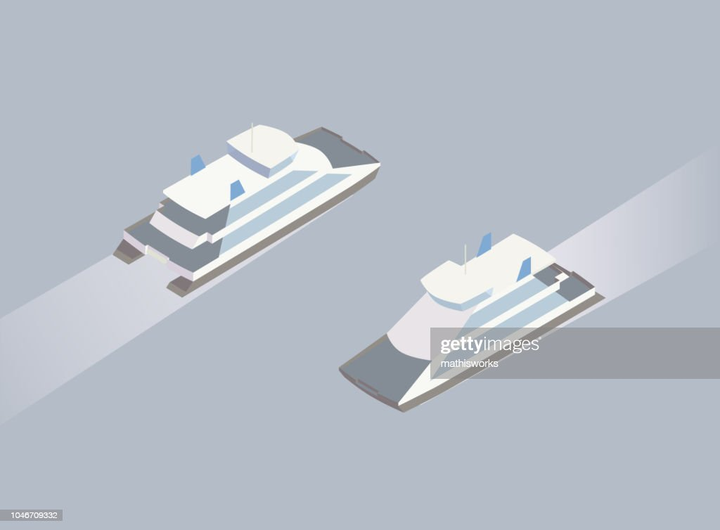 Isometric ferry boat illustration : stock illustration