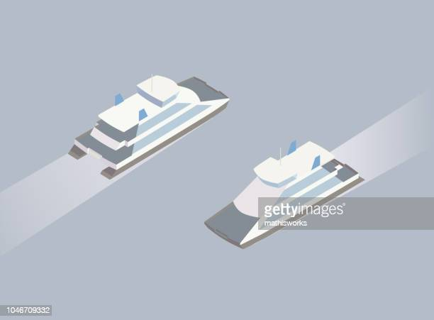 Isometric ferry boat illustration