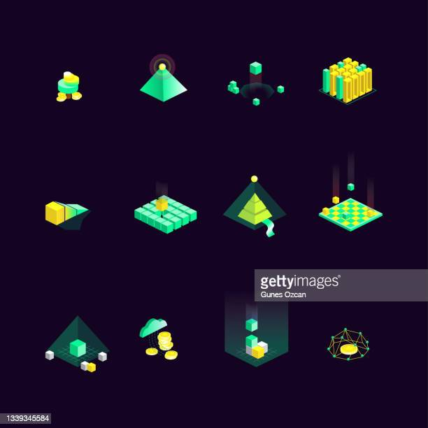 isometric fintech icon set of 12 - cryptocurrency icons - istock images stock illustrations