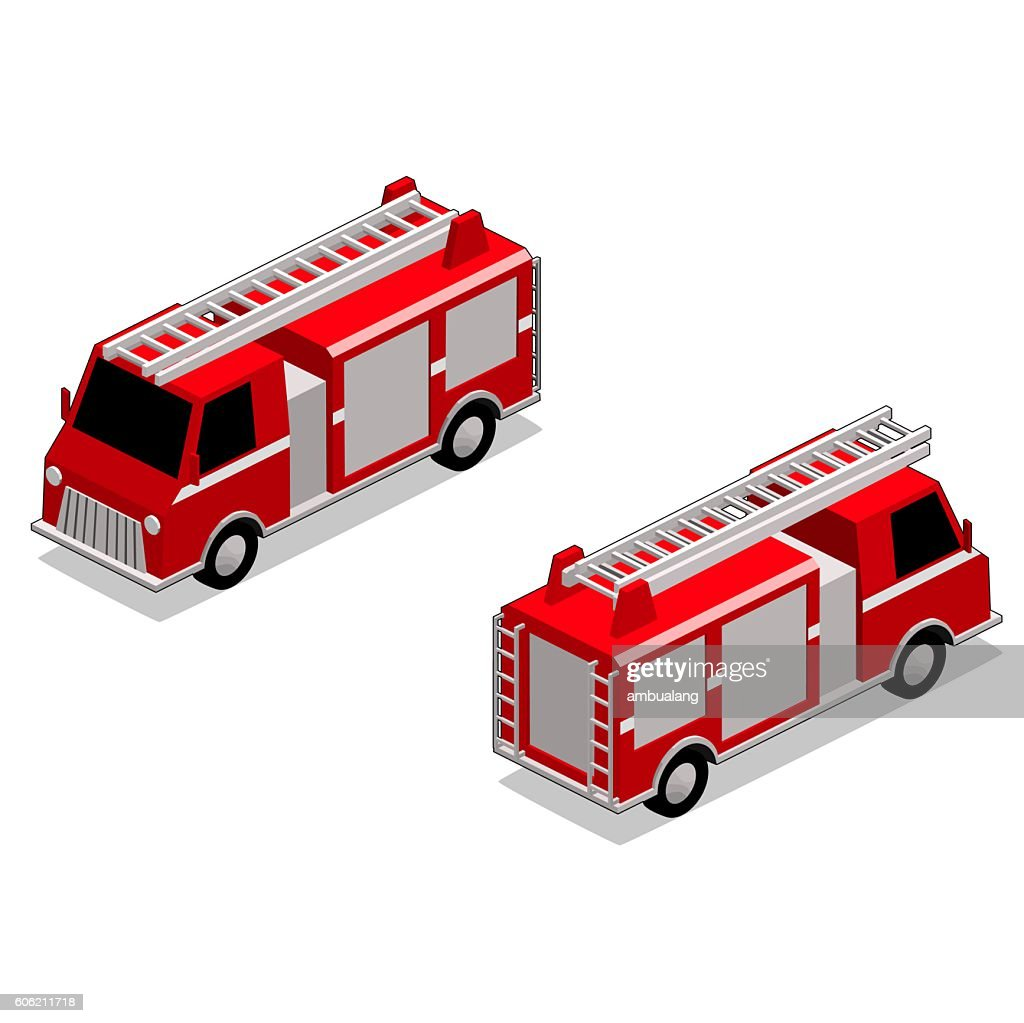 Isometric fire fighter truck