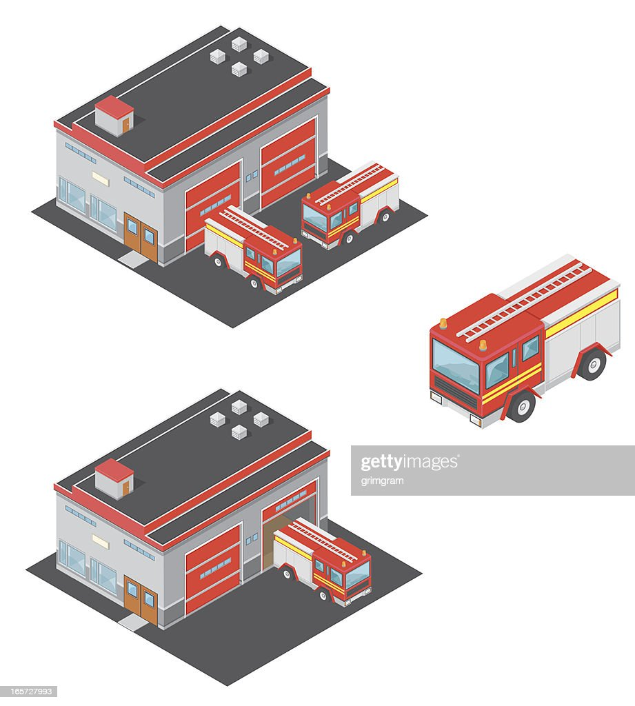 Isometric Fire Station with Engine