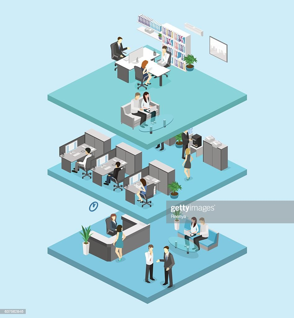 Isometric flat 3d abstract office floor interior offices