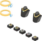 Isometric flat 3D concept set of collection of gold jewelry and accessories vector illustration