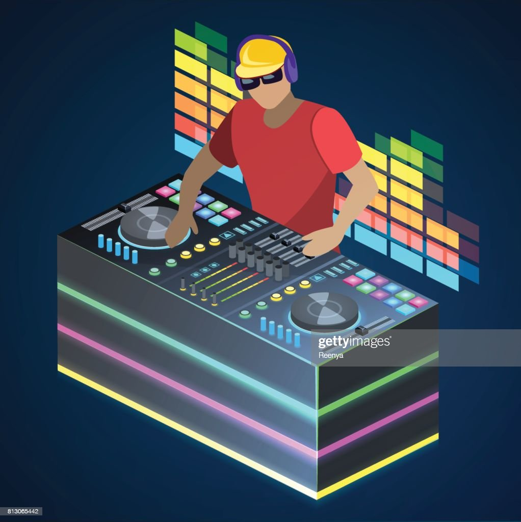 Isometric flat 3D concept vector cutaway DJ playing vinyl. DJ Interface workspace mixer console turntables. Night club concept.