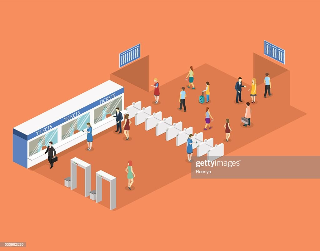 Isometric flat 3D concept vector interior of metro subway station.