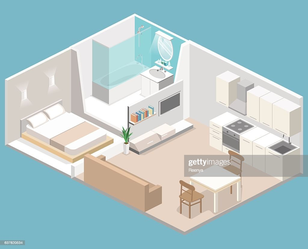Isometric flat 3D concept vector interior of studio apartments