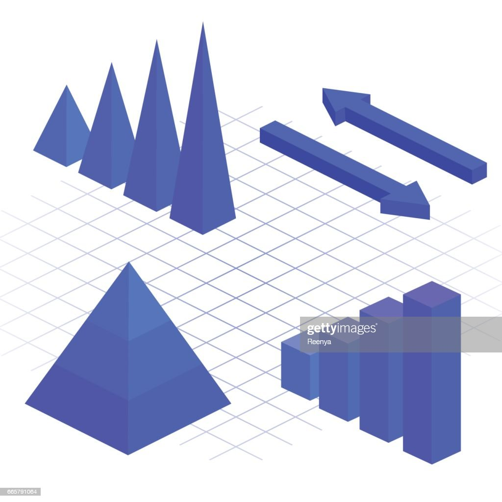 isometric flat 3D infographic elements with data icons and design elements. Pie chart, layers graphs and pyramid diagram. Infographic presentation.