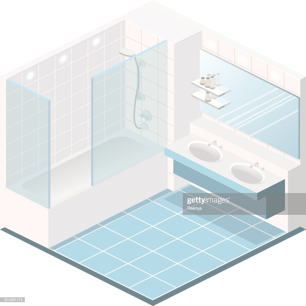 Isometric flat 3D interior of bathroom