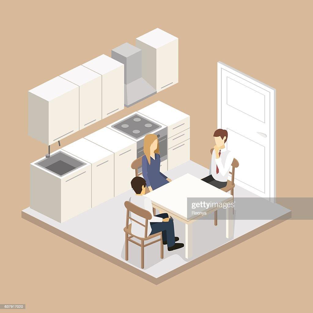 Isometric flat 3D interior of modern kitchen