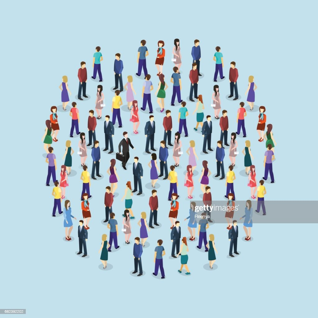 Isometric flat 3D isolated concept vector a large crowd of people standing in the shape of a circle