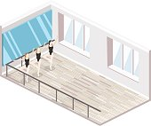 Isometric flat 3D isolated concept vector cutaway interiortraining dance-hall