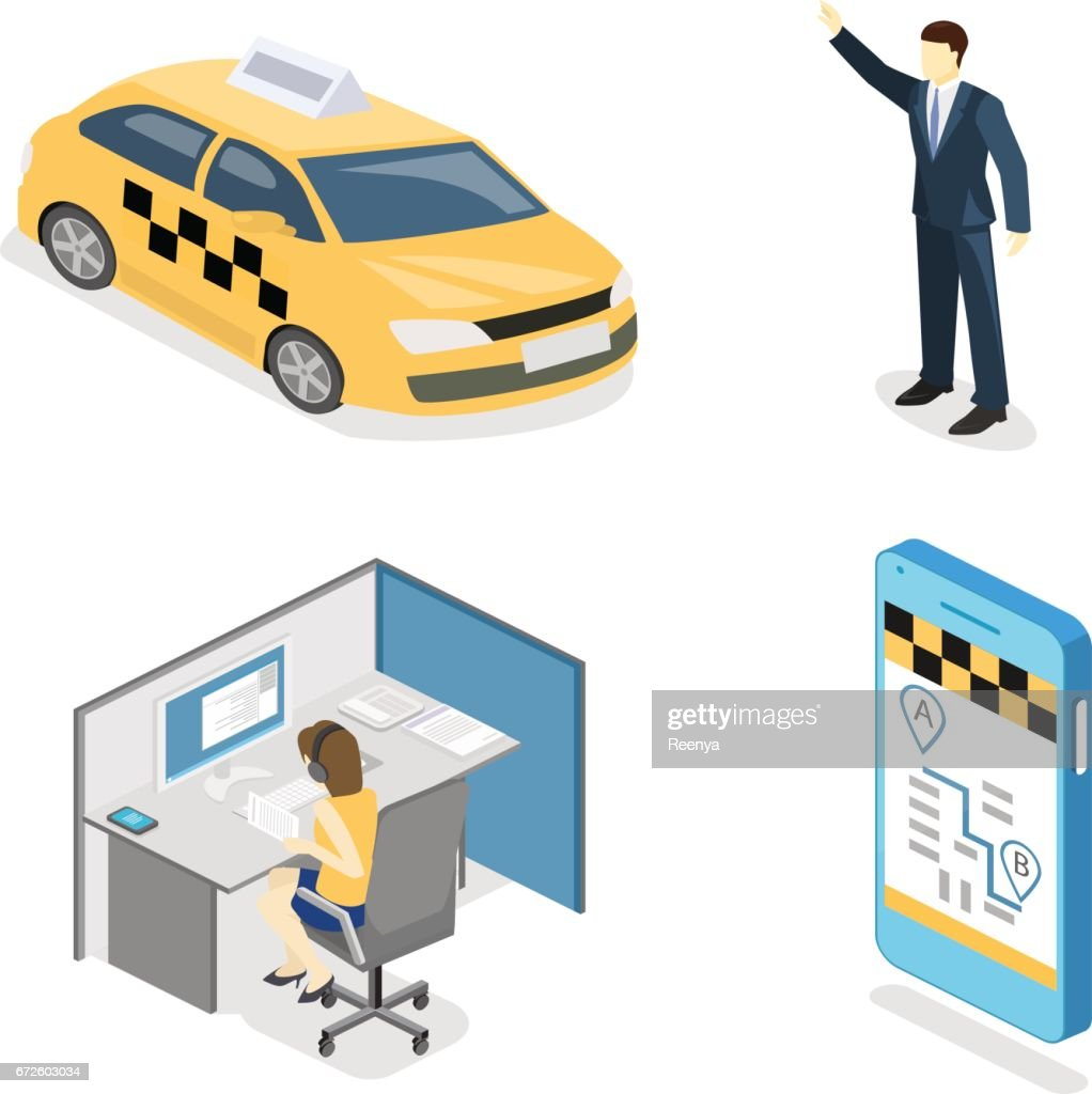 Isometric flat 3D isolated concept vector taxi transport service.