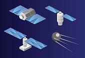 Isometric flat 3D isolated space GPS satellite. Wireless satellite technology.