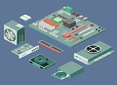 Isometric flat 3D isolated vector white computer Computer parts