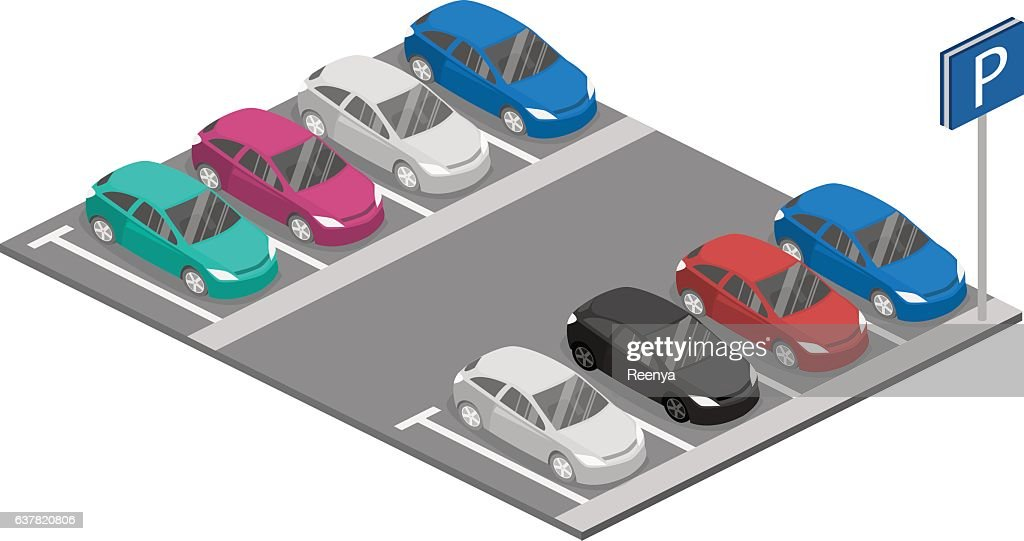 Isometric flat 3D vector car. Urban transport. parking space