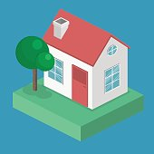 Isometric flat 3D vector cityscape. District with small single-storey houses