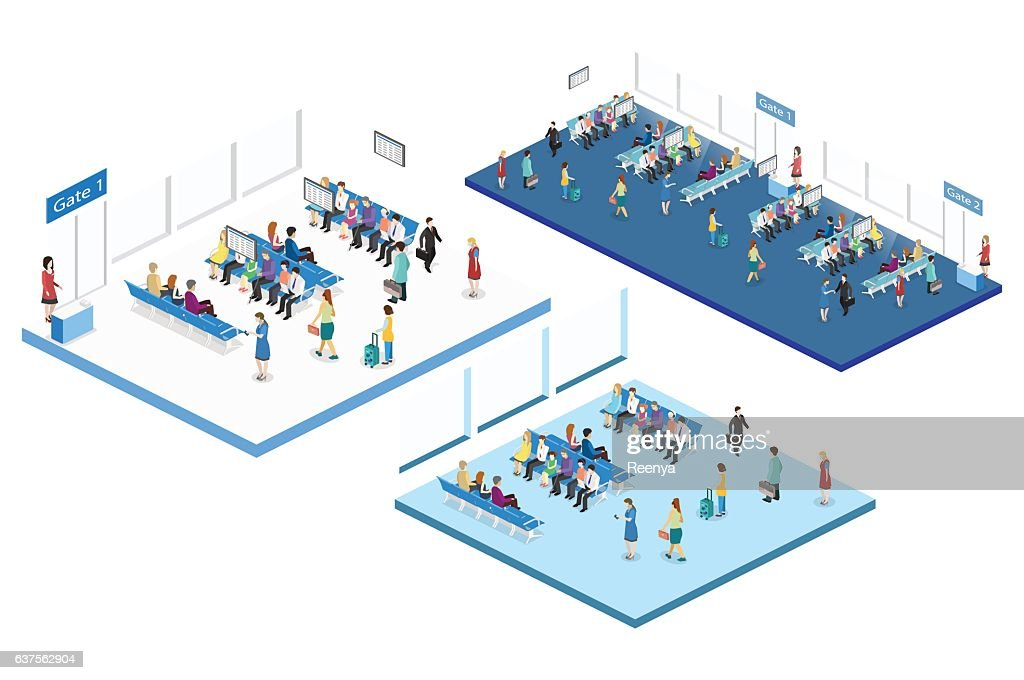 Isometric flat 3D vector interior  waiting room in airport .