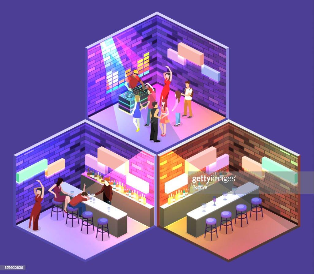Isometric flat 3Dconcept vector cutaway Bar in the nightclub.