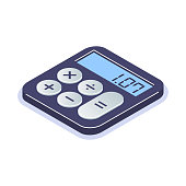 Isometric flat calculator icon. Simple computing machine. Tool for arithmetic operations. Can use for web banner, infographics, promotion.