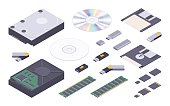 Isometric flat digital memory storages set