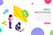 Isometric flat email notification concept. Email marketing at work. People received notification of a new letter on mobile phone and laptop. Can use for web banner, infographics, hero images.