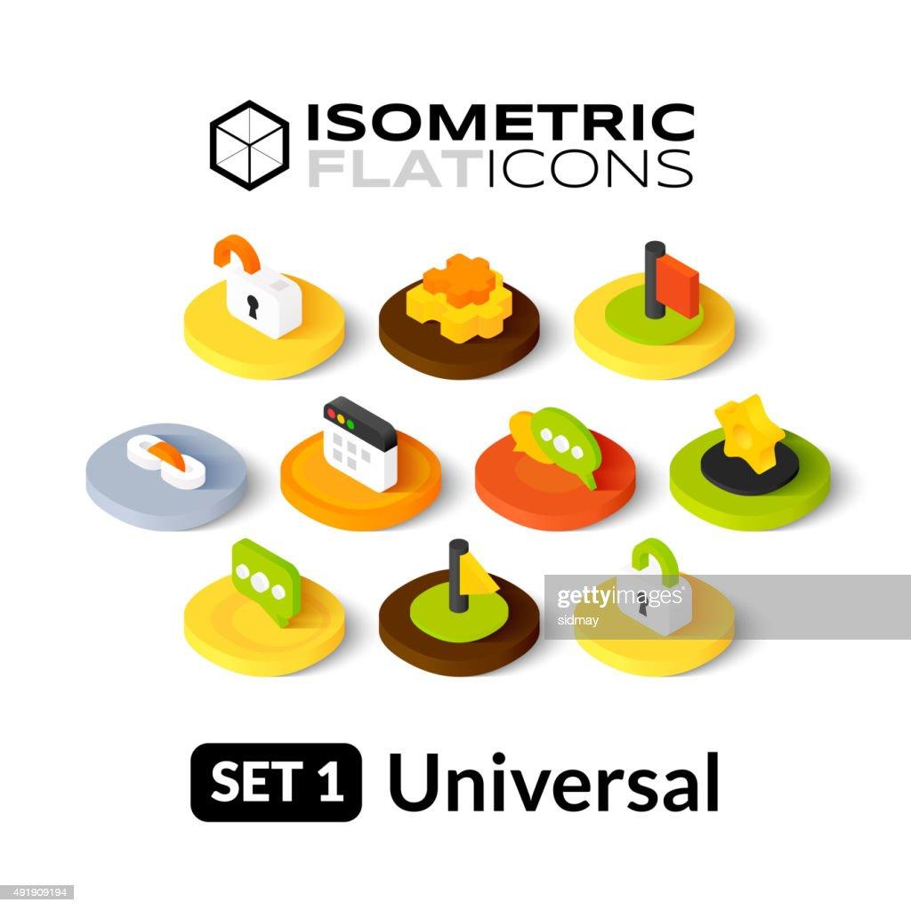 Isometric flat icons set 1
