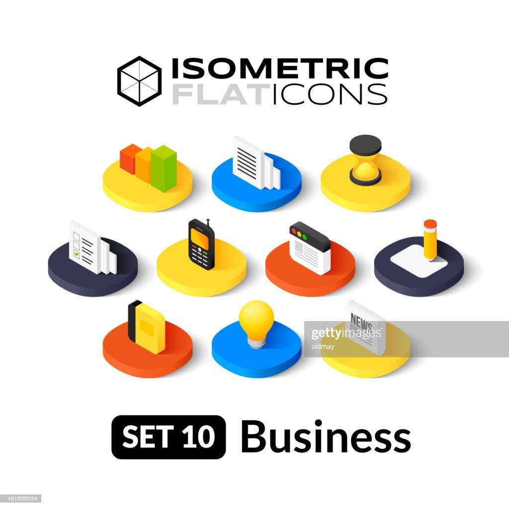 Isometric flat icons set 10