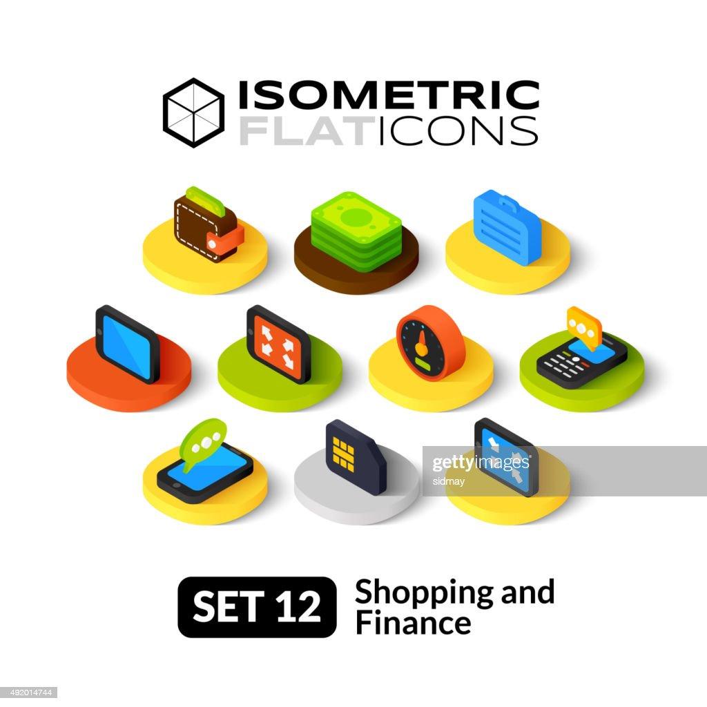 Isometric flat icons set 12