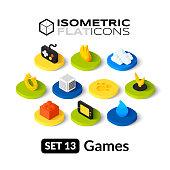 Isometric flat icons set 13