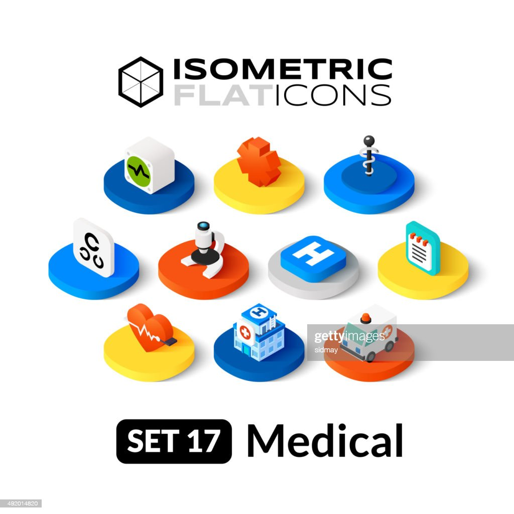 Isometric flat icons set 17
