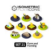 Isometric flat icons set 21
