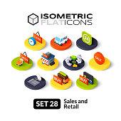 Isometric flat icons set 28